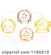 Clipart Of Coffee Corn Bread And Cheese Laurel And Banner Logos Royalty Free Vector Illustration