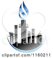 Clipart Of A Gas Refinery With Blue Flames 7 Royalty Free Vector Illustration