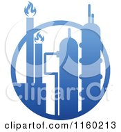 Clipart Of A Gas Refinery With Chimneys 2 Royalty Free Vector Illustration