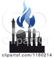 Clipart Of A Gas Refinery With Blue Flames 9 Royalty Free Vector Illustration
