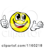 Clipart Of A Yellow Emoticon Smiley Holding A Thumb Up And Presenting Royalty Free Vector Illustration by Vector Tradition SM