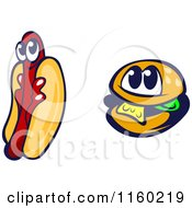 Clipart Of Happy Hot Dog And Cheeseburger Mascots Royalty Free Vector Illustration