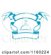 Clipart Of A Blue Cloche And Banners Logo Royalty Free Vector Illustration