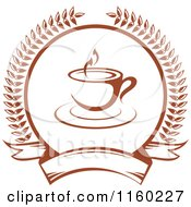 Clipart Of A Brown Coffee Cup Laurel And Banner Logo Royalty Free Vector Illustration