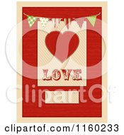 Clipart Of A Heart And The Word Love With Bunting Flags And Copyspace Royalty Free Illustration