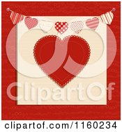 Clipart Of A Red Heart With A Bunting Banner Royalty Free Vector Illustration