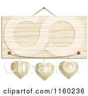 Clipart Of A Hanging Wooden Sign With Metal Hearts Royalty Free Vector Illustration by elaineitalia