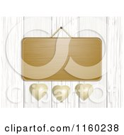 Clipart Of A Blank Hanging Sign With Metal Hearts Over White Washed Wood Royalty Free Illustration by elaineitalia