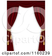 Clipart Of A Border Of Dark Red Theater Curtains And Copyspace Royalty Free Illustration
