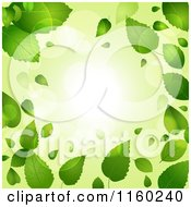 Clipart Of A Green Spring Time Background Of Leaves And Flares Royalty Free Vector Illustration