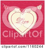 Clipart Of A Love Heart With A Bunting Banner Over Pink Royalty Free Vector Illustration