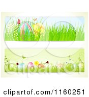 Clipart Of Easter Website Borders Of Butterflies And Eggs Royalty Free Vector Illustration