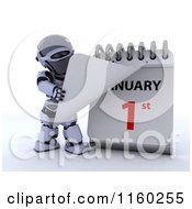 Clipart Of A 3d Robot Tearing Off A Calendar Page To New Years Day January 1st 2 Royalty Free CGI Illustration
