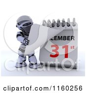 Clipart Of A 3d Robot Tearing Off A Calendar Page To New Years Eve December 31st Royalty Free CGI Illustration
