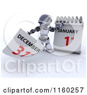 Clipart Of A 3d Robot Tearing Off A Calendar Page To New Years Day January 1st Royalty Free CGI Illustration