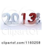 Clipart Of A 3d Robot Pushing Together The Year 2013 Royalty Free CGI Illustration