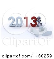 Clipart Of A 3d Robot Pushing Together The Year 2013 And Knocking Down 12 Royalty Free CGI Illustration
