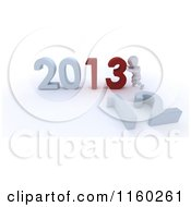3d White Character Pushing Together The Year 2013 And Knocking Down 12