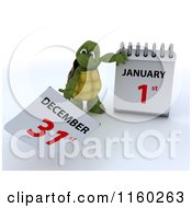 Clipart Of A 3d Tortoise Tearing Off A Calendar Page To New Years Day January 1st Royalty Free CGI Illustration