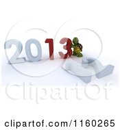 Clipart Of A 3d Tortoise Pushing Together The Year 2013 And Knocking Down 12 Royalty Free CGI Illustration