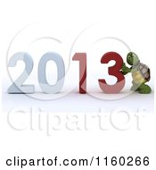 Clipart Of A 3d Tortoise Pushing Together The Year 2013 Royalty Free CGI Illustration