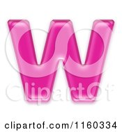 3d Pink Jelly Capital Alphabet Letter W