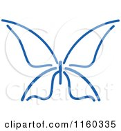 Clipart Of A Simple Navy Blue Butterfly Royalty Free Vector Illustration