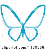 Clipart Of A Simple Blue Butterfly Version 6 Royalty Free Vector Illustration