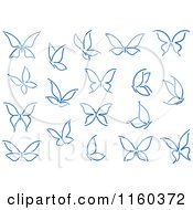 Clipart Of Simple Navy Blue Butterflies Royalty Free Vector Illustration
