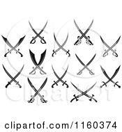 Clipart Of Black And White Crossed Swords Royalty Free Vector Illustration