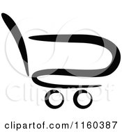Clipart Of A Black And White Shopping Cart Royalty Free Vector Illustration