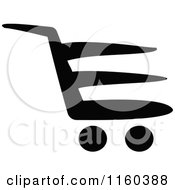 Clipart Of A Black And White Shopping Cart Version 2 Royalty Free Vector Illustration
