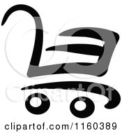 Clipart Of A Black And White Shopping Cart Version 3 Royalty Free Vector Illustration