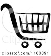 Clipart Of A Black And White Shopping Cart Version 5 Royalty Free Vector Illustration