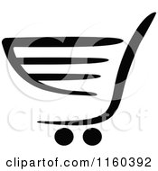 Clipart Of A Black And White Shopping Cart Version 6 Royalty Free Vector Illustration