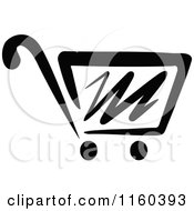 Clipart Of A Black And White Shopping Cart Version 7 Royalty Free Vector Illustration