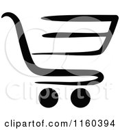 Clipart Of A Black And White Shopping Cart Version 8 Royalty Free Vector Illustration