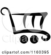 Clipart Of A Black And White Shopping Cart Version 9 Royalty Free Vector Illustration