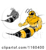 Clipart Of Wasps Sticking Out Their Stingers Royalty Free Vector Illustration