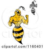 Clipart Of Wasps Flexing Royalty Free Vector Illustration by Vector Tradition SM