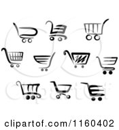 Clipart Of Black And White Shopping Carts Royalty Free Vector Illustration
