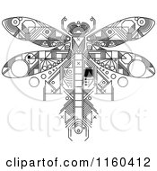 Clipart Of A Black And White Dragonfly Motherboard Computer Chip Royalty Free Vector Illustration