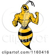 Clipart Of A Wasp Flexing Its Arm Royalty Free Vector Illustration
