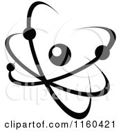 Clipart Of A Black And White Atom 10 Royalty Free Vector Illustration