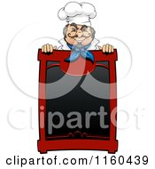 Happy Male Chef Behind A Menu Sign