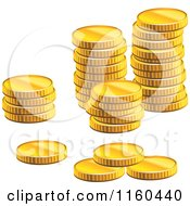 Clipart Of Stacks Of Golden Coins Royalty Free Vector Illustration