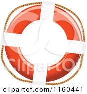 Clipart Of A Life Buoy With A Rope 2 Royalty Free Vector Illustration