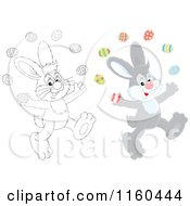 Cartoon Of Gray And Outlined Easter Bunnies Juggling Eggs Royalty Free Vector Clipart