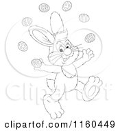 Cartoon Of An Outlined Easter Bunny Juggling Eggs Royalty Free Vector Clipart