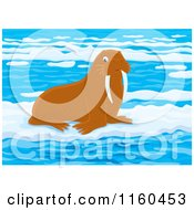 Cartoon Of A Brown Walrus On Ice Royalty Free Vector Clipart by Alex Bannykh